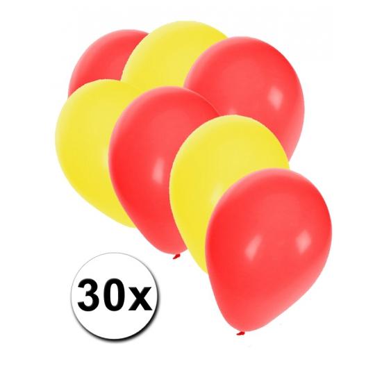 30x ballonnen geel en rood