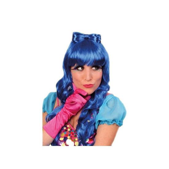 Blauwe pruik haarstrik met krullen