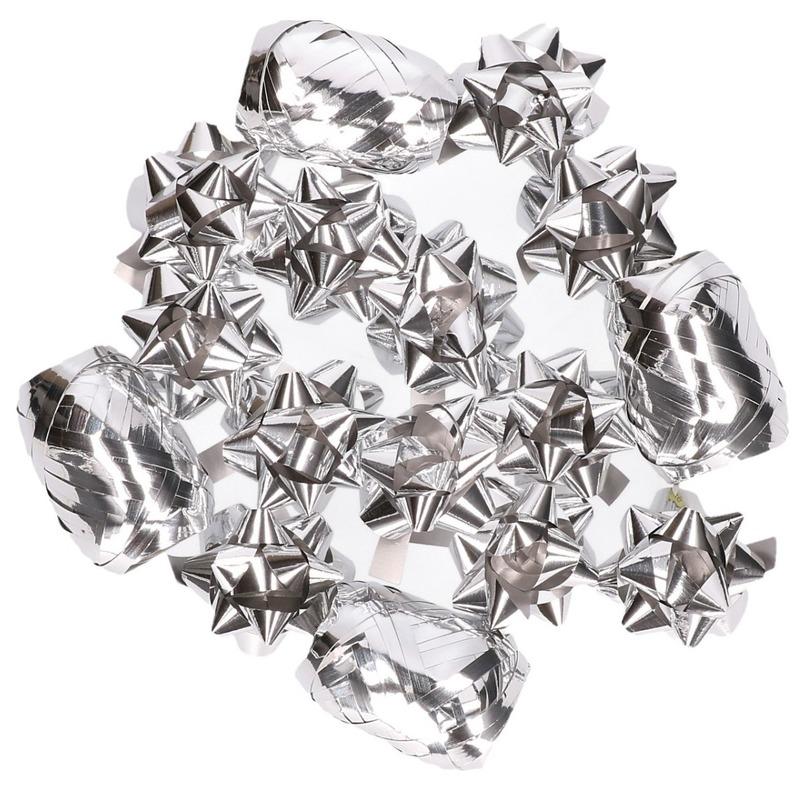 Cadeauversiering set zilver 16 delig