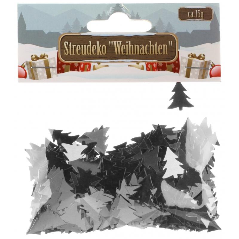 Confetti zilveren kerstboompjes 15 gram