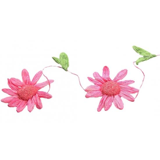 Decoratie madeliefjes slinger roze