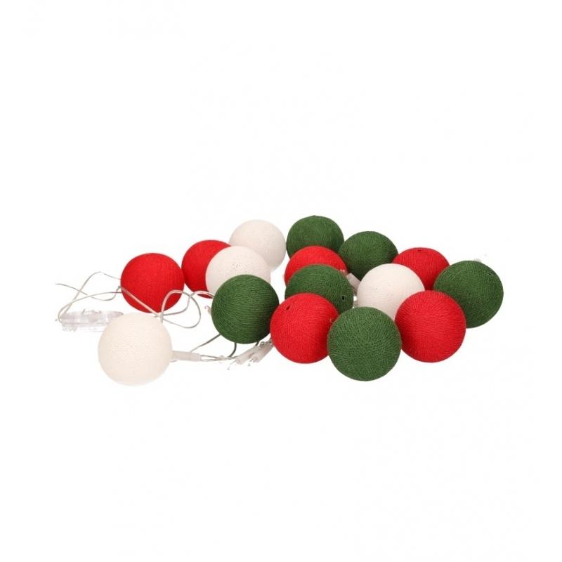 Feestverlichting rood wit groene balletjes