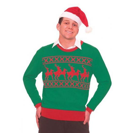 Foute kersttrui met rendieren voor heren. grappige kersttrui met rendieren.
