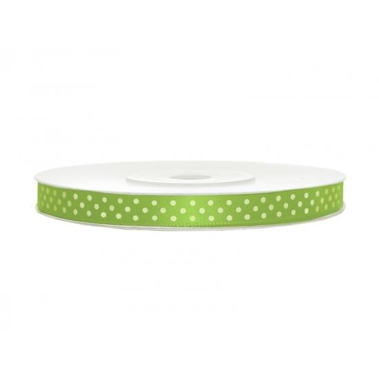 Groen lint met witte stippen 6 mm
