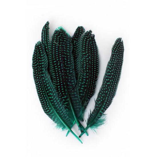 Groene parelhoen veren 50 stuks