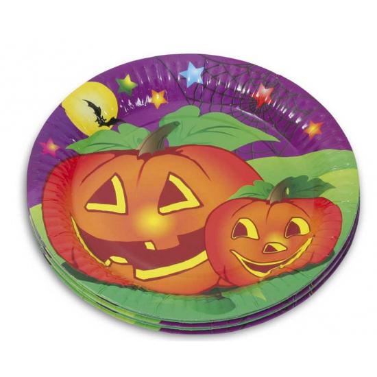 Halloween feestbordjes 10 stuks. deze papieren halloween bordjes met plaatjes van pompoenen zijn verpakt per ...