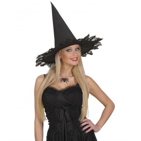 Zwarte ketting met spin. deze zwarte ketting met spin is zeer geschikt voor een halloween party! de ketting ...