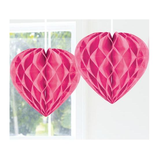 Hangdecoratie hart roze 30 cm