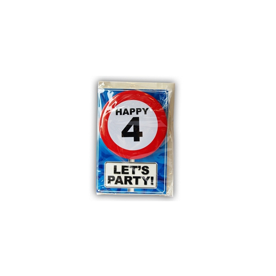 Happy Birthday kaart met button 4 jaar