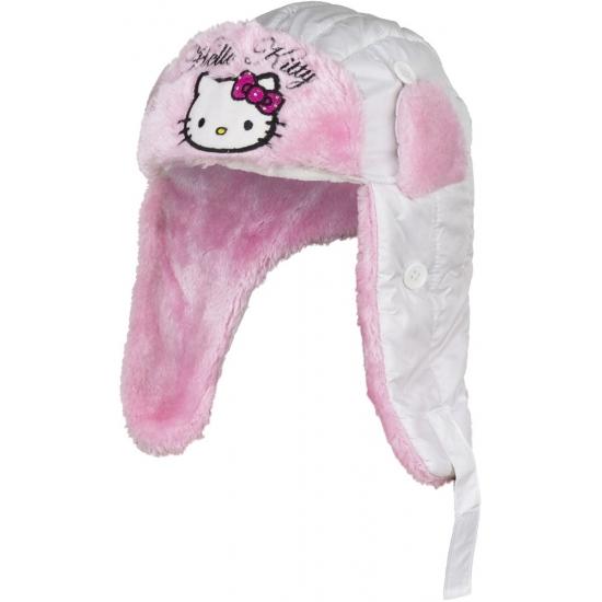 Hello Kitty muts met oorflappen wit meisjes