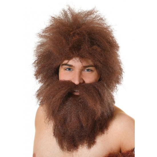Holbewoner baard en pruik