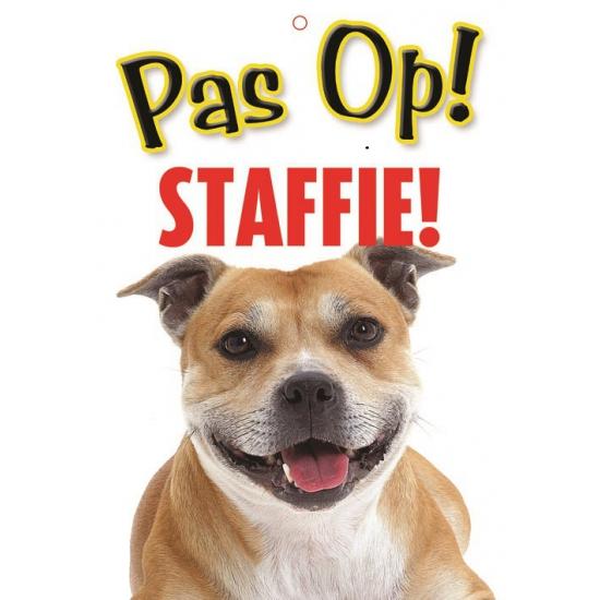 Honden waakbord pas op Staffordshire 21 x 15 cm