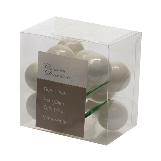 Insteek kerstballetjes wit 2 cm 10 stuks