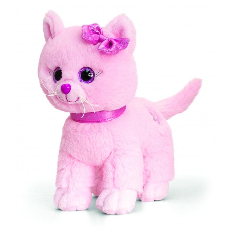 Keel Toys pluche kitten kat knuffel roze 25 cm