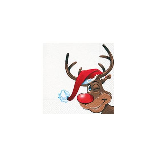 Kerst servetten met rendier. papieren 3 laags kerst servetten met een afbeelding van een rendier. formaat: 33 ...