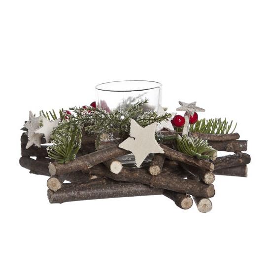 Kerststuk met glazen waxinelichthouder