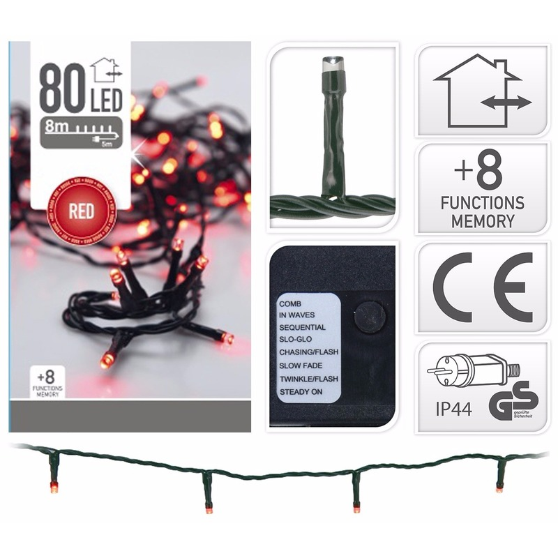 Kerstverlichting rood 80 LED lampjes