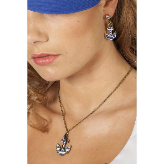 Ketting met anker en steentjes. een mooie goudkleurige ketting met een blauw/wit gestreept anker en kleine ...