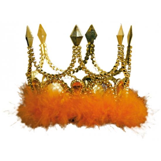 Koningsdag Gouden kroon met oranje veren