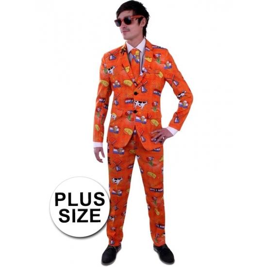 Koningsdag Grote maat heren kostuum Holland print