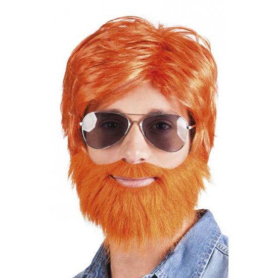 Koningsdag Oranje pruik met baard en snor