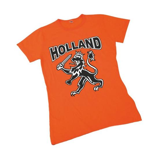 Koningsdag T shirt Holland voor dames met zwarte leeuw