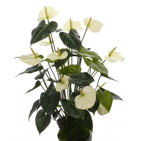 Kunst anthurium plant wit 80 cm