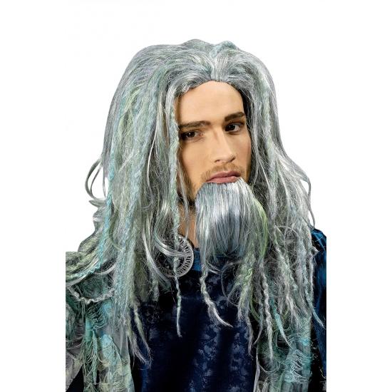 Luxe Poseidon heren pruik met baard
