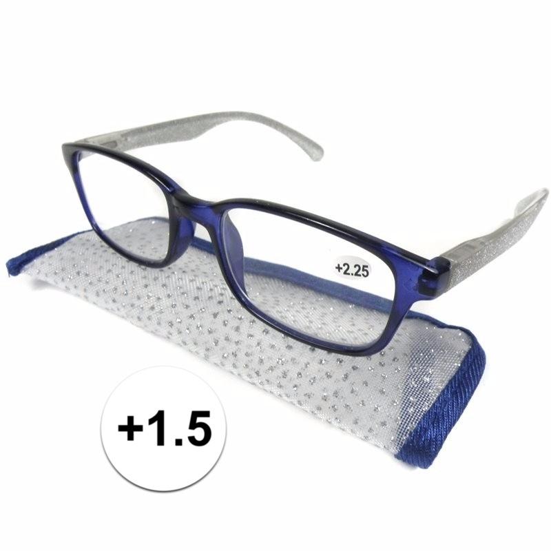 Modieuze leesbril 1.5 blauw met zilver