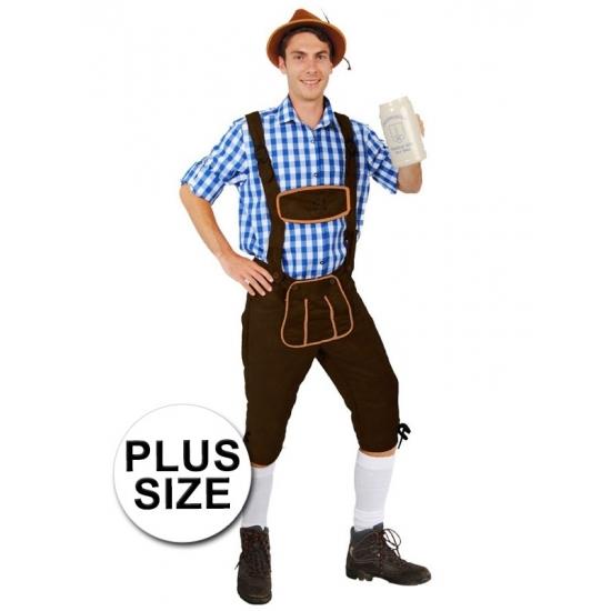 Oktoberfest Grote maten lange lederhose Andreas donkerbruin voor heren