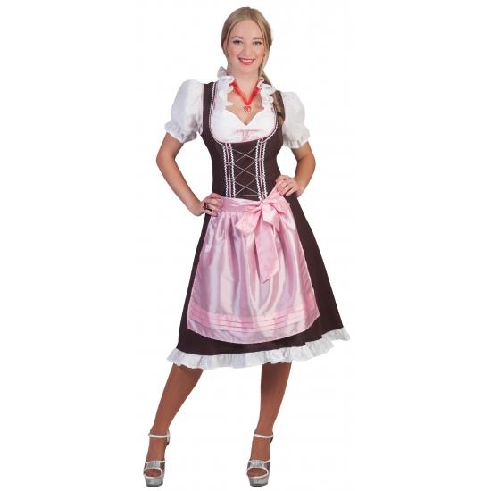 Oktoberfest Grote maten Tiroler Dirndl bruin en roze
