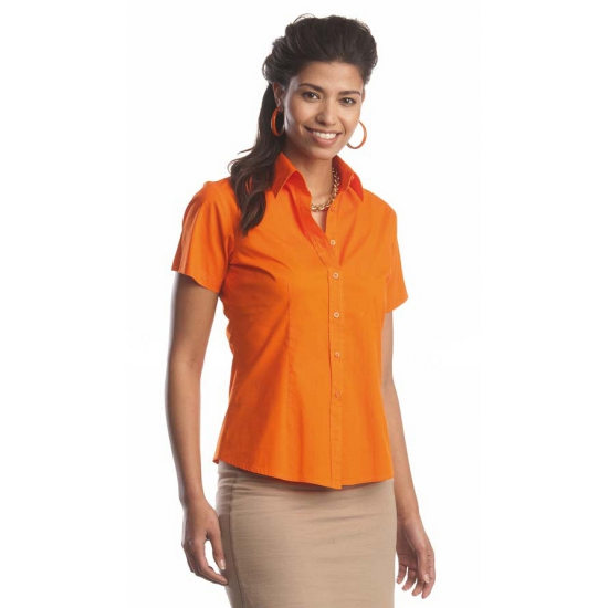 Oranje dames overhemd met korte mouwen