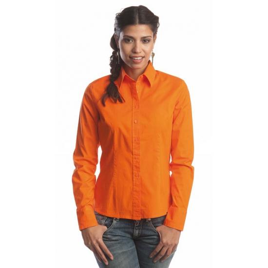 Oranje dames overhemd met lange mouwen