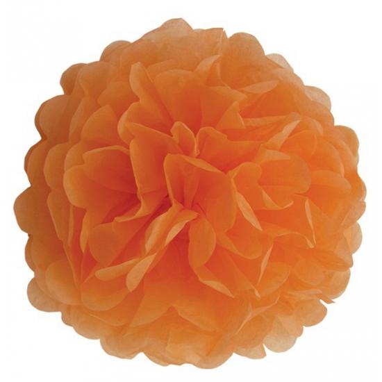 Oranje decoratie pompom 25 cm