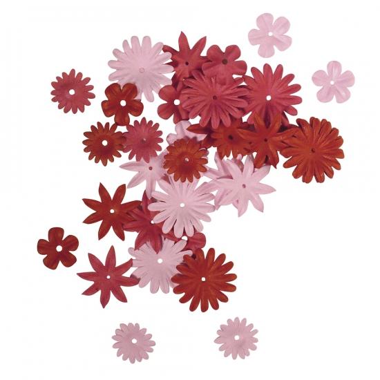 Papieren knutsel bloemen 36 stuks rood roze