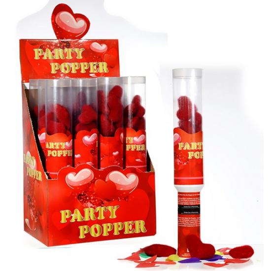 Party popper rode pluche hartjes 1x
