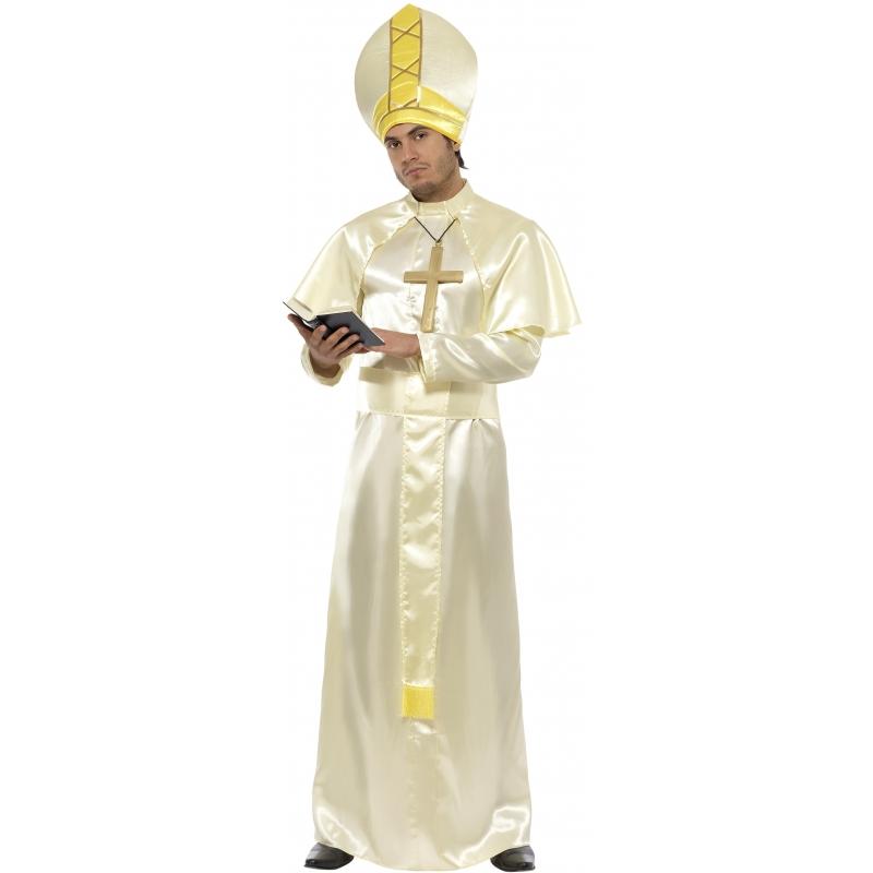 Paus kostuum wit en goud