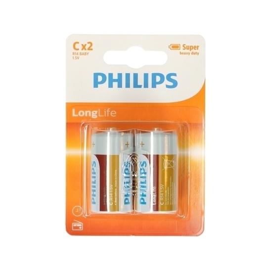 Phillips LL batterijen R14 1,5 volt 2 stuks