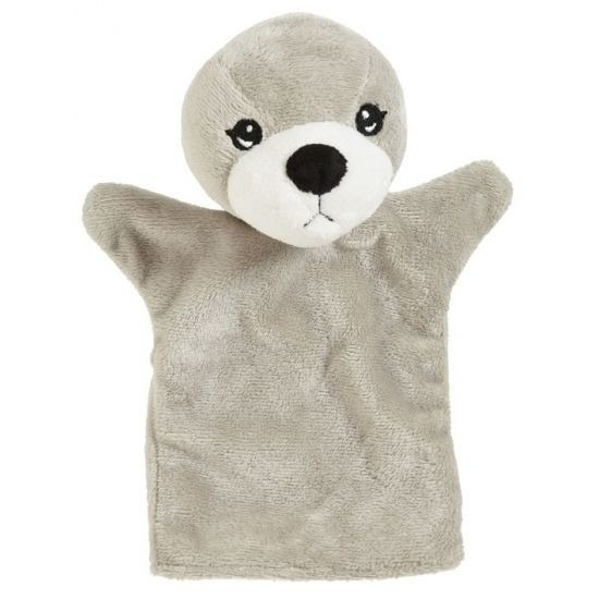 Pluche handpop zeehond 22 cm