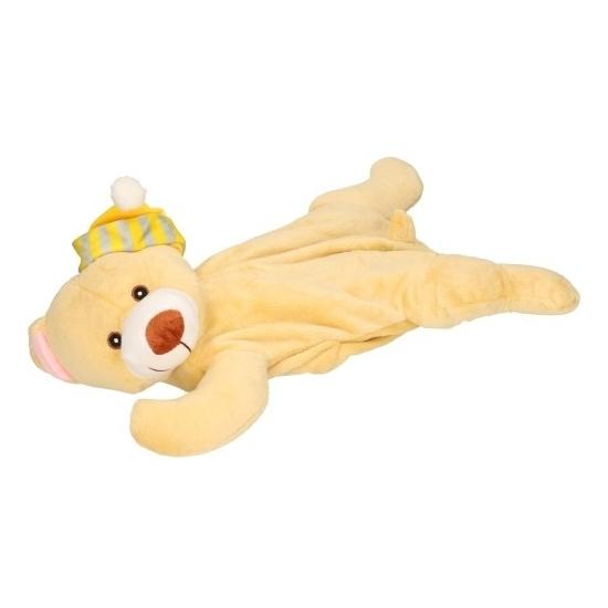 Pluche kruik beige beer met slaapmuts