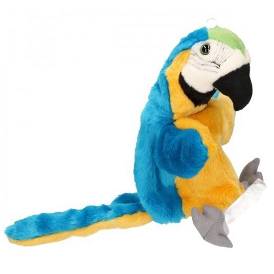 Pluche papegaai handpop blauw 28 cm