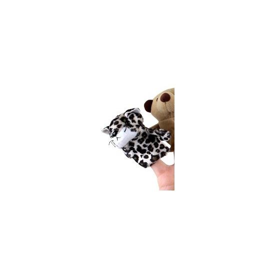 Pluche vingerpopje luipaard