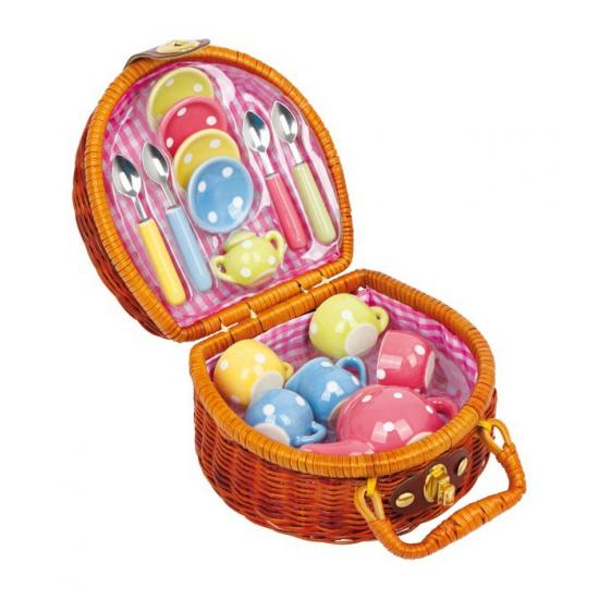 Poppen picknickkoffer met servies