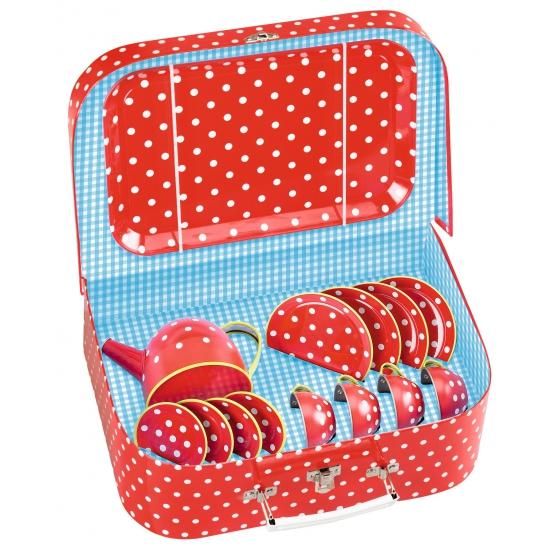 Rode kinder thee set in koffer