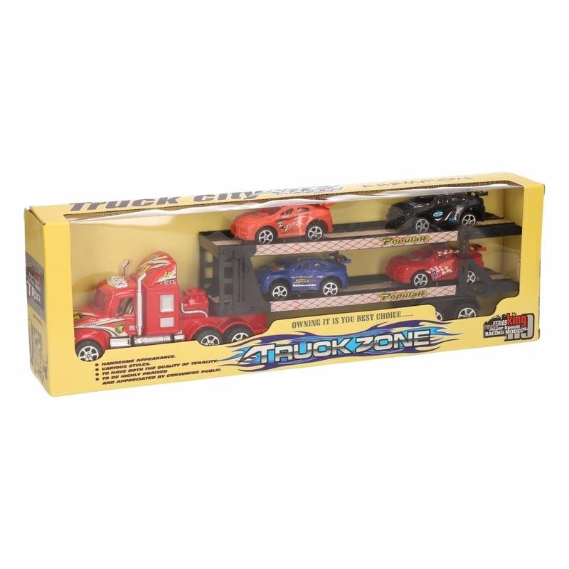 Rode vrachtauto met oplegger 41 cm