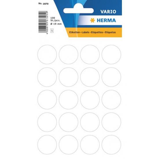 Ronde sticker etiketten wit 19 mm