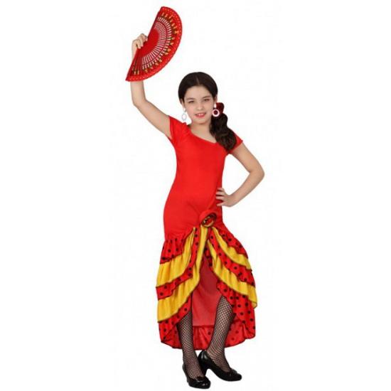 Rood met gele Flamenco meisjes jurk