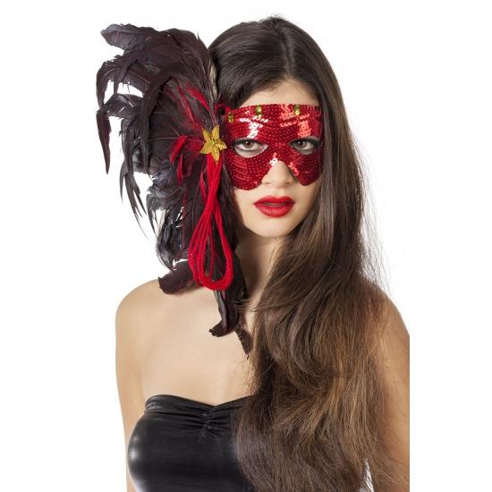 Rood Venetiaans oogmasker met pailletten
