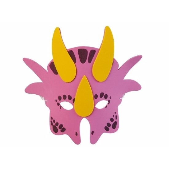 Roze dinosaurus masker 18cm