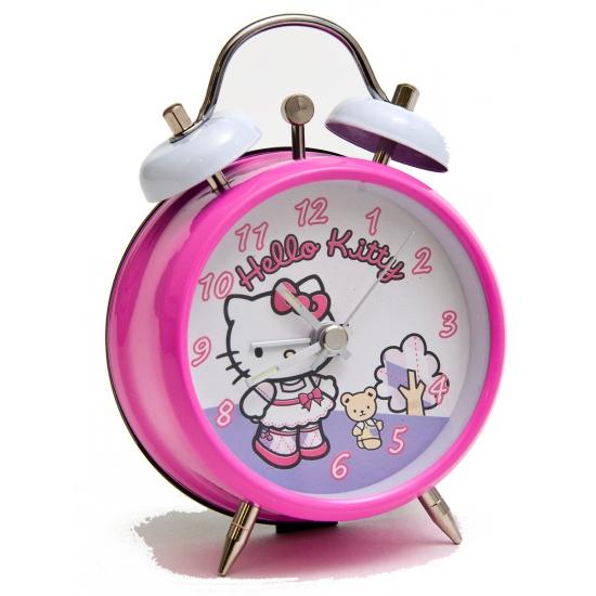 Roze hello kitty wekker. deze roze wekker met de plaatjes van hello kitty is ongeveer 9 cm groot.